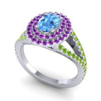 Ornate Oval Halo Dhala Swiss Blue Topaz Ring with Amethyst and Peridot in 18k White Gold
