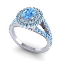 Ornate Oval Halo Dhala Swiss Blue Topaz Ring with Aquamarine in 14k White Gold