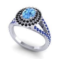 Ornate Oval Halo Dhala Swiss Blue Topaz Ring with Black Onyx and Blue Sapphire in 18k White Gold