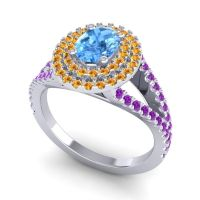 Ornate Oval Halo Dhala Swiss Blue Topaz Ring with Citrine and Amethyst in 18k White Gold