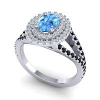 Ornate Oval Halo Dhala Swiss Blue Topaz Ring with Diamond and Black Onyx in Platinum