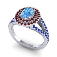 Ornate Oval Halo Dhala Swiss Blue Topaz Ring with Garnet and Blue Sapphire in 14k White Gold
