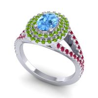 Ornate Oval Halo Dhala Swiss Blue Topaz Ring with Peridot and Ruby in Platinum