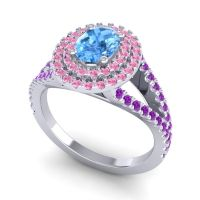 Ornate Oval Halo Dhala Swiss Blue Topaz Ring with Pink Tourmaline and Amethyst in 14k White Gold