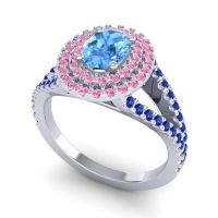 Ornate Oval Halo Dhala Swiss Blue Topaz Ring with Pink Tourmaline and Blue Sapphire in 14k White Gold
