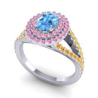 Ornate Oval Halo Dhala Swiss Blue Topaz Ring with Pink Tourmaline and Citrine in Palladium