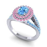 Ornate Oval Halo Dhala Swiss Blue Topaz Ring with Pink Tourmaline in 14k White Gold