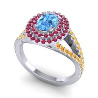 Ornate Oval Halo Dhala Swiss Blue Topaz Ring with Ruby and Citrine in Palladium