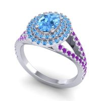 Ornate Oval Halo Dhala Swiss Blue Topaz Ring with Amethyst in Palladium