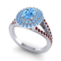Ornate Oval Halo Dhala Swiss Blue Topaz Ring with Garnet in 18k White Gold