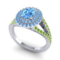 Ornate Oval Halo Dhala Swiss Blue Topaz Ring with Peridot in 14k White Gold