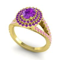 Ornate Oval Halo Dhala Amethyst Ring with Pink Tourmaline in 18k Yellow Gold