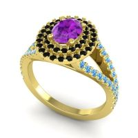 Ornate Oval Halo Dhala Amethyst Ring with Black Onyx and Swiss Blue Topaz in 18k Yellow Gold