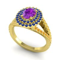 Ornate Oval Halo Dhala Amethyst Ring with Blue Sapphire and Citrine in 18k Yellow Gold
