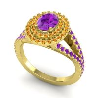 Ornate Oval Halo Dhala Amethyst Ring with Citrine in 14k Yellow Gold