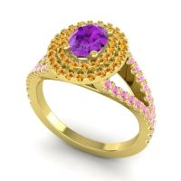 Ornate Oval Halo Dhala Amethyst Ring with Citrine and Pink Tourmaline in 18k Yellow Gold