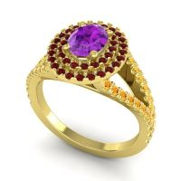 Ornate Oval Halo Dhala Amethyst Ring with Garnet and Citrine in 14k Yellow Gold