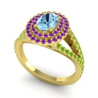 Ornate Oval Halo Dhala Aquamarine Ring with Amethyst and Peridot in 14k Yellow Gold