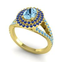 Ornate Oval Halo Dhala Aquamarine Ring with Blue Sapphire and Swiss Blue Topaz in 18k Yellow Gold