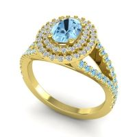 Ornate Oval Halo Dhala Aquamarine Ring with Diamond in 18k Yellow Gold
