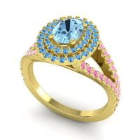 Ornate Oval Halo Dhala Aquamarine Ring with Swiss Blue Topaz and Pink Tourmaline in 18k Yellow Gold