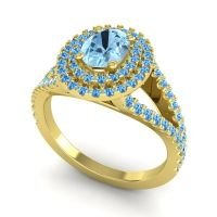 Ornate Oval Halo Dhala Aquamarine Ring with Swiss Blue Topaz in 18k Yellow Gold