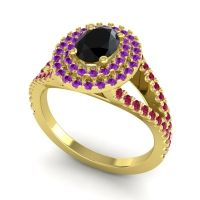 Ornate Oval Halo Dhala Black Onyx Ring with Amethyst and Ruby in 14k Yellow Gold