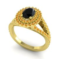 Ornate Oval Halo Dhala Black Onyx Ring with Citrine in 14k Yellow Gold