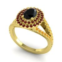 Ornate Oval Halo Dhala Black Onyx Ring with Garnet and Citrine in 18k Yellow Gold