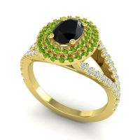 Ornate Oval Halo Dhala Black Onyx Ring with Peridot and Diamond in 14k Yellow Gold