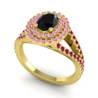 Ornate Oval Halo Dhala Black Onyx Ring with Pink Tourmaline and Ruby in 14k Yellow Gold