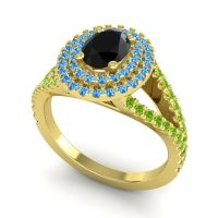 Ornate Oval Halo Dhala Black Onyx Ring with Swiss Blue Topaz and Peridot in 18k Yellow Gold