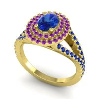 Ornate Oval Halo Dhala Blue Sapphire Ring with Amethyst in 18k Yellow Gold