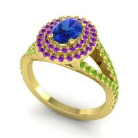 Ornate Oval Halo Dhala Blue Sapphire Ring with Amethyst and Peridot in 14k Yellow Gold