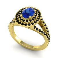 Ornate Oval Halo Dhala Blue Sapphire Ring with Black Onyx in 14k Yellow Gold