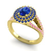 Ornate Oval Halo Dhala Blue Sapphire Ring with Pink Tourmaline in 18k Yellow Gold