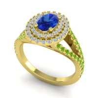 Ornate Oval Halo Dhala Blue Sapphire Ring with Diamond and Peridot in 14k Yellow Gold