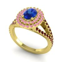 Ornate Oval Halo Dhala Blue Sapphire Ring with Pink Tourmaline and Garnet in 18k Yellow Gold