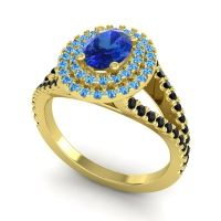 Ornate Oval Halo Dhala Blue Sapphire Ring with Swiss Blue Topaz and Black Onyx in 14k Yellow Gold