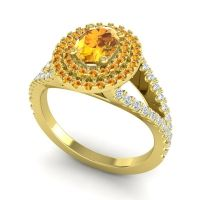 Ornate Oval Halo Dhala Citrine Ring with Diamond in 14k Yellow Gold