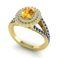 Ornate Oval Halo Dhala Citrine Ring with Diamond and Blue Sapphire in 18k Yellow Gold