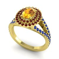 Ornate Oval Halo Dhala Citrine Ring with Garnet and Blue Sapphire in 18k Yellow Gold