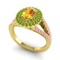 Ornate Oval Halo Dhala Citrine Ring with Peridot and Pink Tourmaline in 18k Yellow Gold