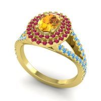 Ornate Oval Halo Dhala Citrine Ring with Ruby and Swiss Blue Topaz in 18k Yellow Gold