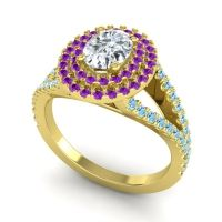 Ornate Oval Halo Dhala Diamond Ring with Amethyst and Aquamarine in 18k Yellow Gold