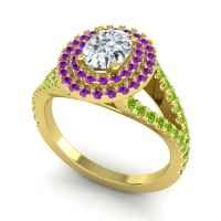 Ornate Oval Halo Dhala Diamond Ring with Amethyst and Peridot in 18k Yellow Gold