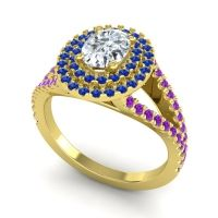 Ornate Oval Halo Dhala Diamond Ring with Blue Sapphire and Amethyst in 18k Yellow Gold
