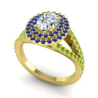 Ornate Oval Halo Dhala Diamond Ring with Blue Sapphire and Peridot in 18k Yellow Gold