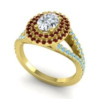 Ornate Oval Halo Dhala Diamond Ring with Garnet and Aquamarine in 18k Yellow Gold