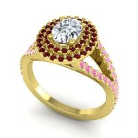 Ornate Oval Halo Dhala Diamond Ring with Garnet and Pink Tourmaline in 18k Yellow Gold